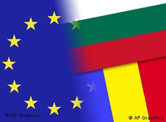 Bulgaria and Romania flags over EU flag, partial graphic