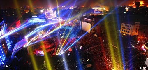 Rumänien EU Beitritt Bukarest Lasershow