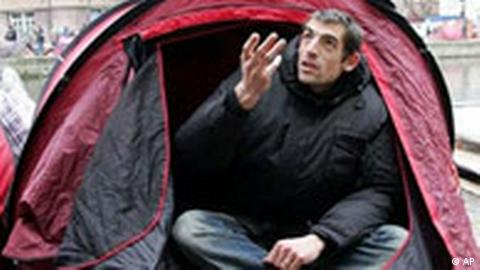 A French charity group has led the protest by setting up a tent camp in a trendy part of Paris