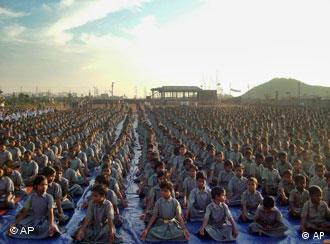 Children at a yoga camp in India
