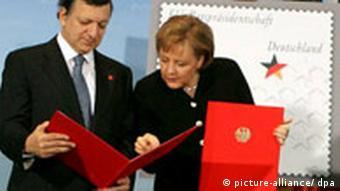 BdT EU Ratspräsidentschaft Deutschland Briefmarke Merkel und Barroso