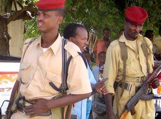 Somali policemen in uniform with rifles