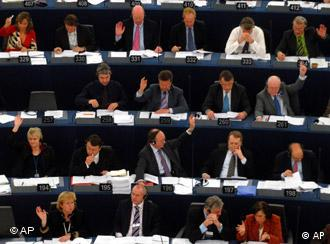 European parliamentarians voting