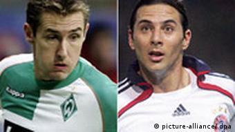 Combo Fußball Bundesliga 2006 /07 Miroslav Klose Werder Bremen und Claudio Pizarro vom FC Bayern München