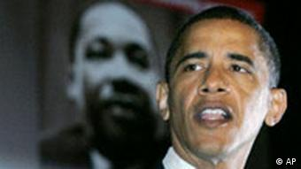 USA Senator Barack Obama in Chicago Martin Luther King Tag