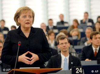 German Chancellor Angela Merkel delivers her statement at the European Parliament in Strasbourg