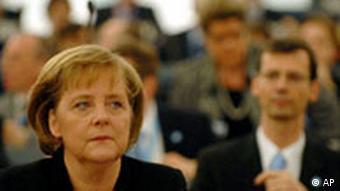 German Chancellor Angela Merkel listens to the debate at the European Parliament