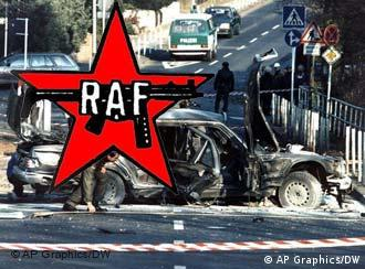Red Army Faction logo superimposed over police investigating car wreckage from an RAF attack