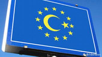 The Turkish crescent and star inside the EU's circle of stars