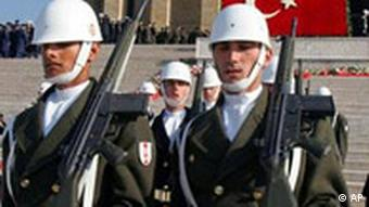 Turkish soldiers on parade