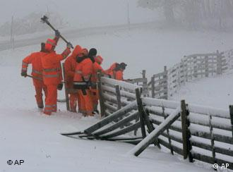 Snow-clearers hard at work removing snow