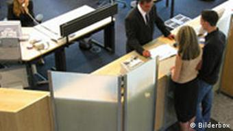 Customers in a bank in Germany