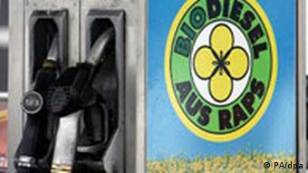 Pump with biodiesel from rapeseed