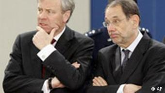 NATO Secretary General Jaap de Hoop Scheffer, left, and EU foreign policy chief Javier Solana