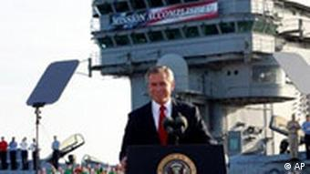 President Bush declares the end of major combat in Iraq as he speaks aboard the aircraft carrier USS Abraham Lincoln off the California coast Thursday, May 1, 2003.