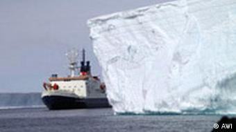 German research vessel Polastern with ice in the arctic