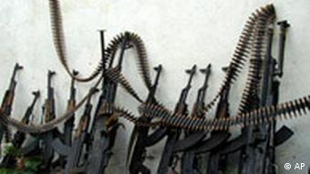 A row of machine guns