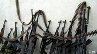 A row of machine guns