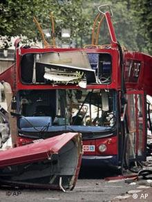 A front view of the bus which was destroyed by a bomb in London
