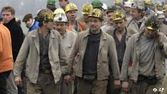 Coal miners arrive at a demonstration in Düsseldorf