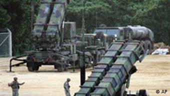 us missile launchers on an airbase in japan