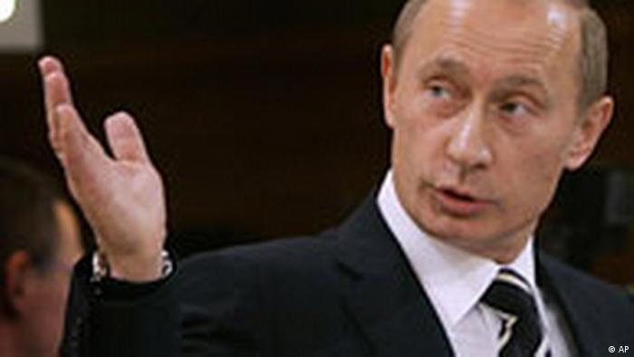 O presidente da Rússia, Vladimir Putin, durante a Conferência de Segurança de Munique em 10 de fevereiro de 2007.