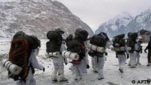 Indische Soldaten am Siachen Gletscher