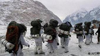 Indian Army Gurkha soldiers march toward Line of Control between India and Pakistan, Siachen Glacier