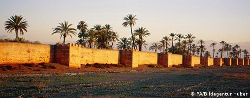 Marrakech ramparts and trees shown at sunset