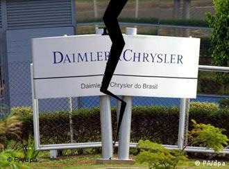 Sign reading DaimlerChrysler split by a lightning bolt