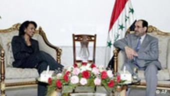 Condoleezy Rice and Iraq Prime Minister Nouri al-Maliki