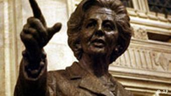 A bronze statue of former British Prime Minister Baroness Margaret Thatcher, unveiled by Baroness Thatcher herself, is seen inside the Palace of Westminster, London, Wednesday Feb. 21, 2007. The unveiling of the 7ft 6in bronze by sculptor Antony Dufort took place Wednesday evening in the Members' Lobby and Baroness Thatcher is the first living ex-Prime Minister to be honoured in such a way by the Commons. (AP Photo/Johnny Green, Pool)