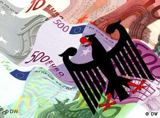 Graphic showing money and the German eagle