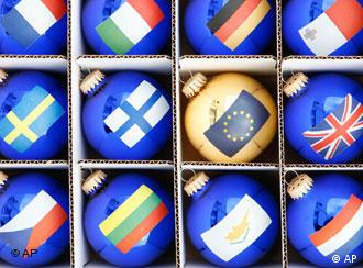 Christmas baubles decorated with the flags of the EU and member states