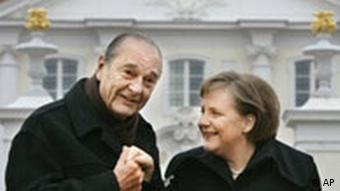 German Chancellor Merkel was chummy with former French President Jacques Chirac
