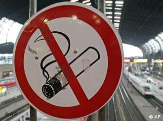 Anti-smoking sign on railway station