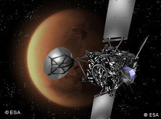 A graphic rendering of Rosetta flying past the red planet
