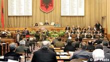 parlament innen.jpg Albania's 140-member parliament meets in Tirana, Friday May 20, 2005 before it was dissolved ahead of general elections scheduled for July 3. Albania is under pressure to hold fair and trouble-free elections in order to further its ambitions to join NATO next year and the EU by 2015. Past elections have been marred by serious irregularities. (AP Photo/Hektor Pustina)