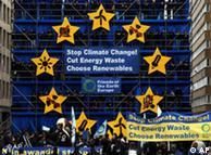 Buenas noticias para los defensores del clima, que pusieron esta instalación en Bruselas para la cumbre.