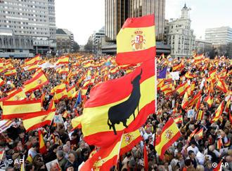 Street protest in Madrid with Spanish flags