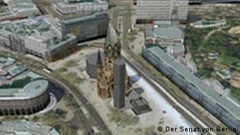 Aerial view of Berlin's Breitscheidplatz with a 3-D model of the church