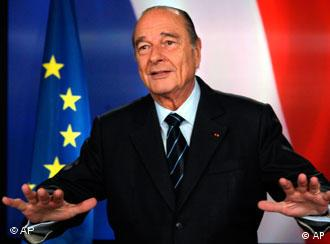 French president Jacques Chirac poses after recording a television address from the presidential Elysee Palace in Paris, Sunday, March 11, 2007