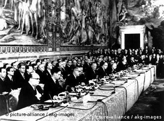 Delegates of six countries met in Rome to establish what would become the European Union