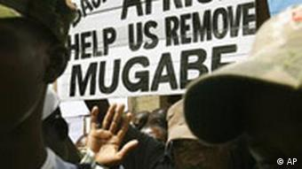 Protestors outside Zimbabwe's consulate in South Africa