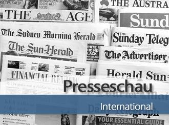 Mehrere internationale Zeitungen aufgefächert