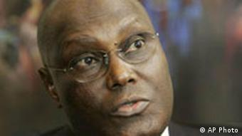 Nigerian Vice President Atiku Abubakar is interviewed by The Associated Press in Washington, Friday, Jan. 5, 2007. (AP Photo/Manuel Balce Ceneta) is interviewed by The Associated Press in Washington, Friday, Jan. 5, 2007. (AP Photo/Manuel Balce Ceneta)