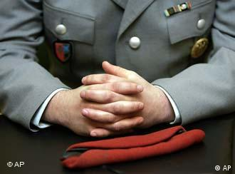 Soldiers hands folded