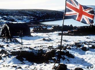 British flag flies over Ajax Bay in 1982