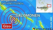 Infokarte zum Seebeben und nachfolgendem Tsunami auf den Salomonen-Inseln