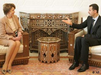 نانسی پلوسی، رییس مجلس نمایندگان آمریکا در جریان سفر خاورمیانهای خود، با وجود مخالفت های دولت پرزیدنت جورج بوش، به  سوریه سفر کرد و در آنجا از جمله با بشار اسد، رئیس جمهور این کشور به گفتگو نشست. نانسی پلوسی گفته است که مذاکرات وی در دمشق در مورد روابط آمریکا و سوریه  و نیز موضوعهای مربوط  به لبنان، عراق و مبارزه با تروریسم بوده است. سفر پلوسی به دمشق بهعنوان گرایشی قوی در آمریکا به دخالت دادن سوریه در روند مذاکره میان اسرائیل و فلسطینیان دیده میشود.